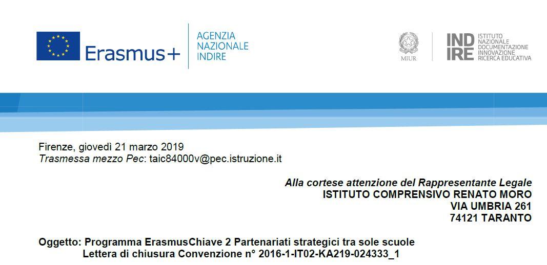 Erasmus Program 2 Strategic partnerships between schools only – Closing letter Convention n° 2016-1-IT02-KA219-024333_1